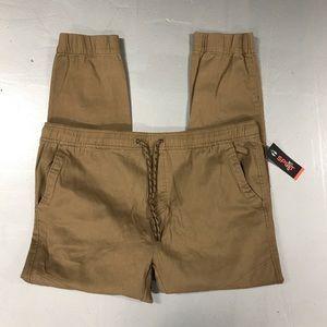 Split Elastic Casual Pants Beige Mens Sz XXL 2XL